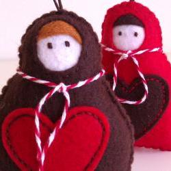 Babushka Christmas Decoration - Set of 2 - red, brown - Ornaments/favors/decor/christmas tree